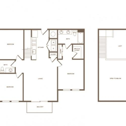1475 square foot three bedroom two bath loft apartment floorplan image