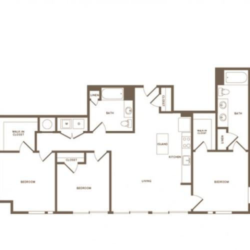 1426 square foot three bedroom two bath apartment floorplan image