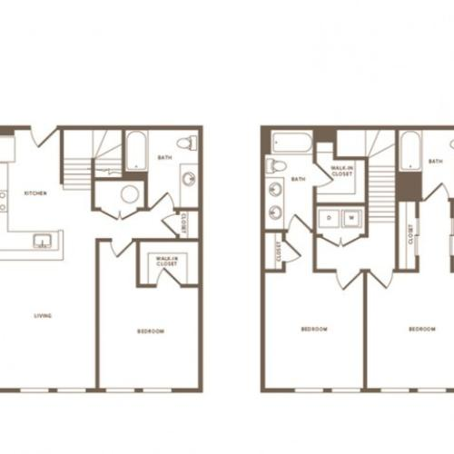 1621 square foot three bedroom three bath townhome floorplan image