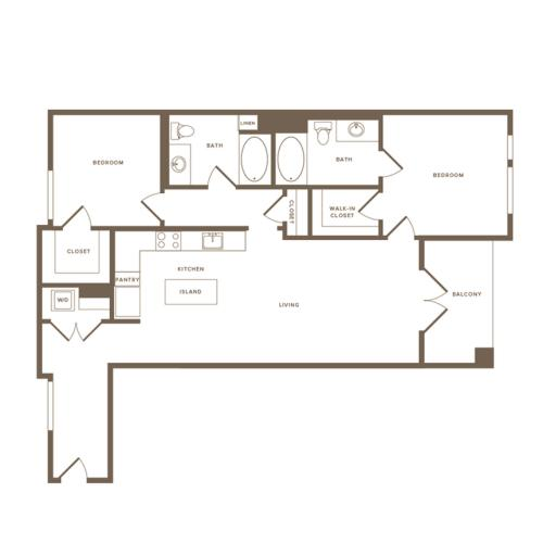 1126 square foot two bedroom two bath floor plan