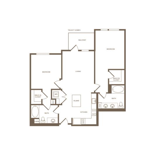 1057 square foot two bedroom two bath floor plan