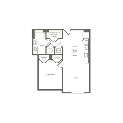 691 square foot one bedroom one bath apartment floorplan image