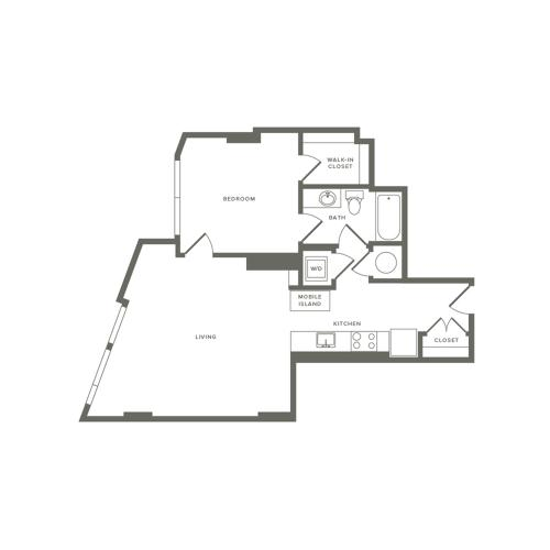 764 square foot one bedroom one bath apartment floorplan image