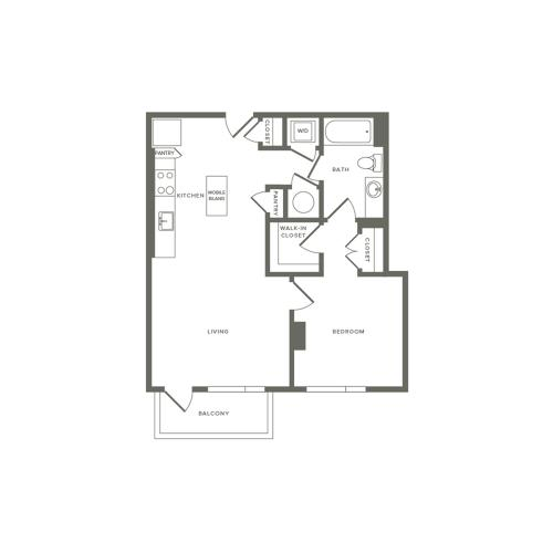 690 to 691 square foot one bedroom one bath apartment floorplan image
