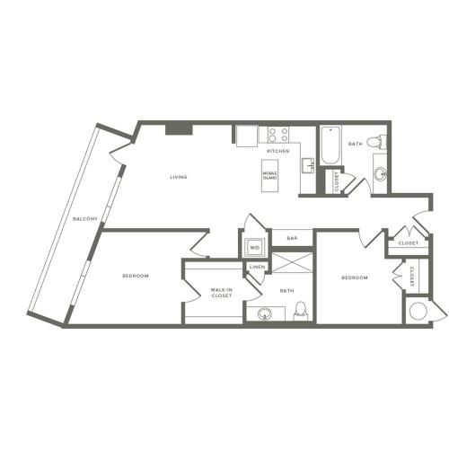 997 to 998 square foot two bedroom two bath apartment floorplan image
