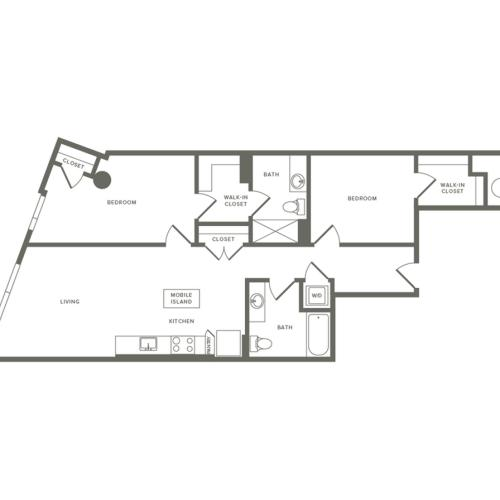 1026 square foot two bedroom two bath apartment floorplan image