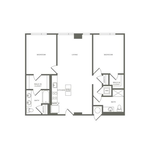 1055 to 1122 square foot two bedroom two bath apartment floorplan image