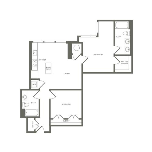 1020 square foot two bedroom two bath apartment floorplan image
