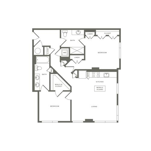 1066 to 1068 square foot two bedroom two bath apartment floorplan image