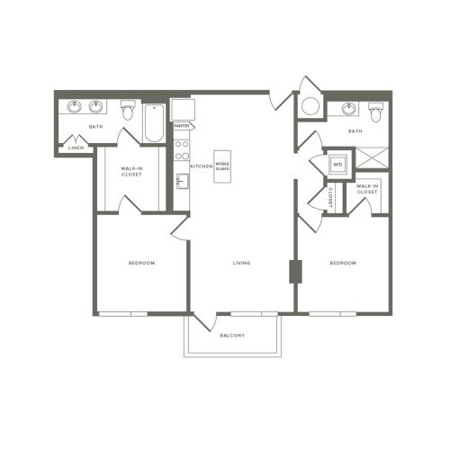 1060 to 1061 square foot two bedroom two bath apartment floorplan image