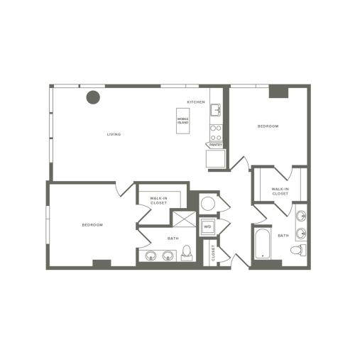 1179 square foot two bedroom two bath apartment floorplan image