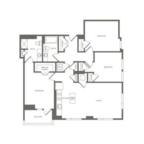 1282 square foot three bedroom two bath apartment floorplan image
