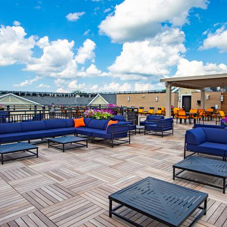 Rooftop seating options with ample seating and small tables