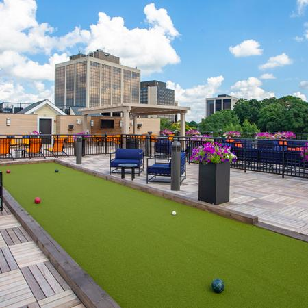 Bocce ball on rooftop deck Modera 55 | Apartment Homes | New Jersey