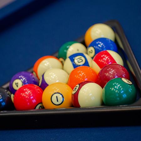 Brightly colored billiards balls