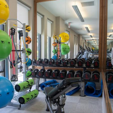 Huge selection of fitness equipment in our Fitness Studio Modera 55 | Apartment Homes | New Jersey