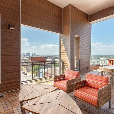 Rooftop deck with plush seating areas, great views, and outdoor TV