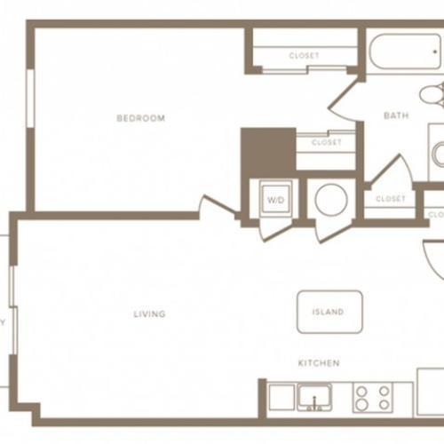 722 square foot one bedroom one bath phase II apartment floorplan image