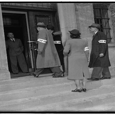 Officers of the Embassy entering the historic building in the early 1900's
