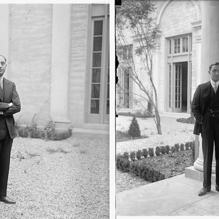 Gentlemen in suits standing around the Italian Embassy in the early 1900's