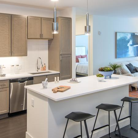 Kitchen Features Island & Stainless Steel Appliances | Modera Needham | Apartment Homes | Needham, MA Apartments