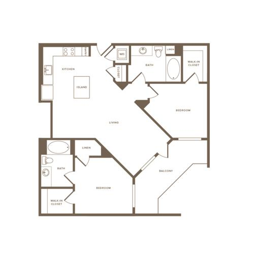 1049 square foot two bedroom two bath floor plan image