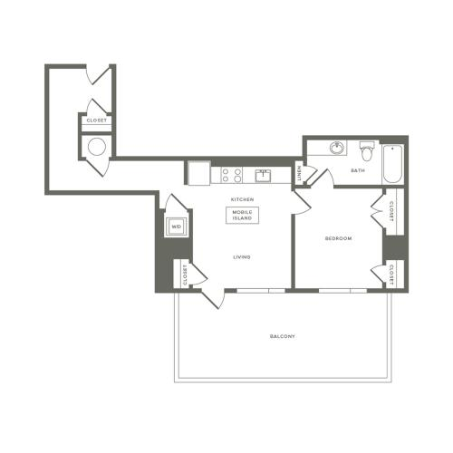 675 square foot one bedroom one bath apartment floorplan image