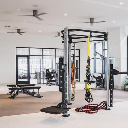 Expansive fitness center with weight machines