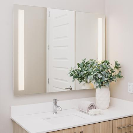 Bathroom vanity with LED mirror