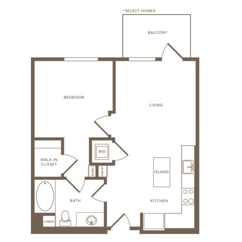 707-713 square foot one bedroom one bath floor plan image