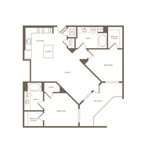 1049 square foot two bedroom two bath floor plan