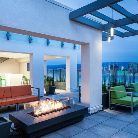 Sky terrace during the evening with fire pit burning