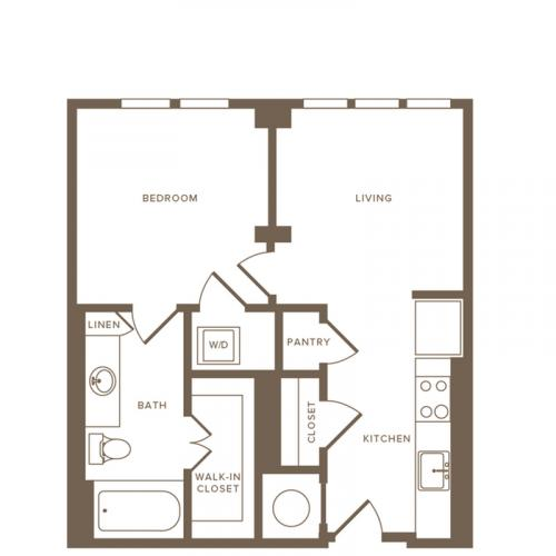 1 Bedroom Floor Plan A1 | Modera Howell | Apartments For Rent In Dallas TX