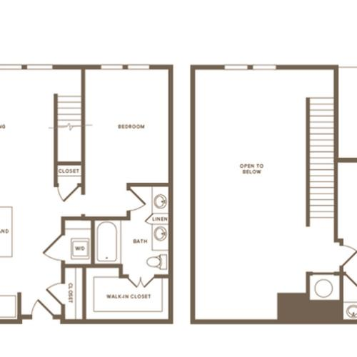 2 Bdrm Floor Plan B14 Penthouse | Modera Howell | Dallas Texas Apartments