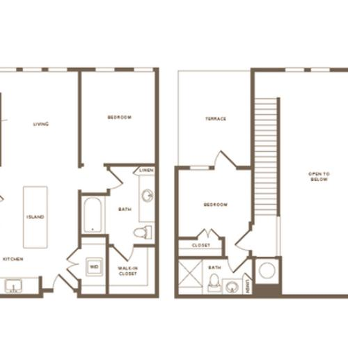 3 Bedroom Floor Plan C01 Penthouse | Modera Howell | Dallas Apartments For Rent