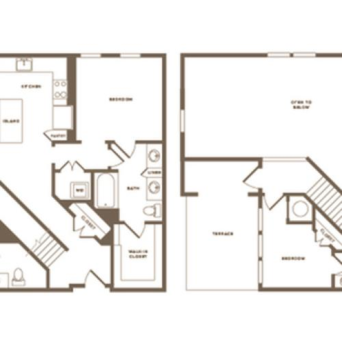 Floor Plan C04 Penthouse | Modera Howell | Dallas Texas Apartments