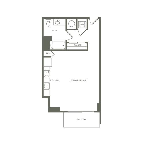 580 square foot studio one bath floor plan image