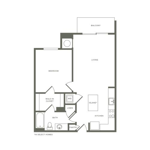 716 to 740 square foot one bedroom one bath apartment floorplan image