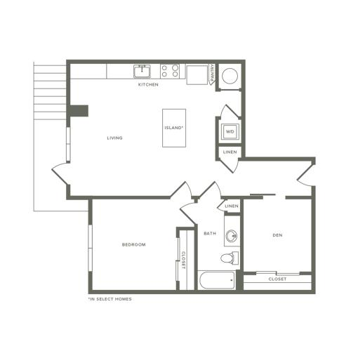802 to 859 square foot one bedroom one bath with den apartment floorplan image