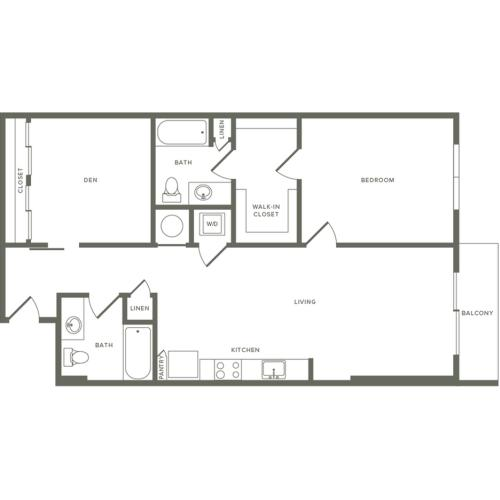 998 to 1040 square foot one bedroom two bath with den apartment floorplan image
