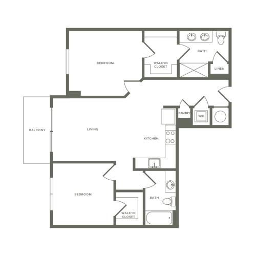 983 square foot two bedroom two bath apartment floorplan image