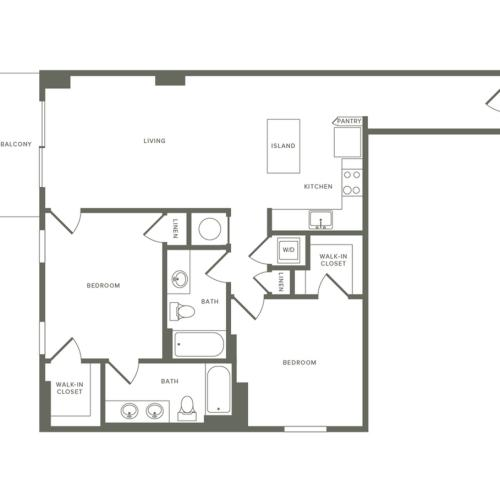 1109 square foot two bedroom two bath apartment floorplan image