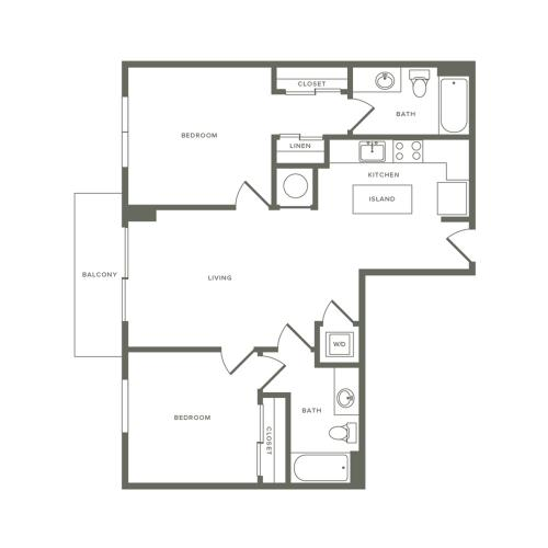 911 square foot two bedroom two bath apartment floorplan image