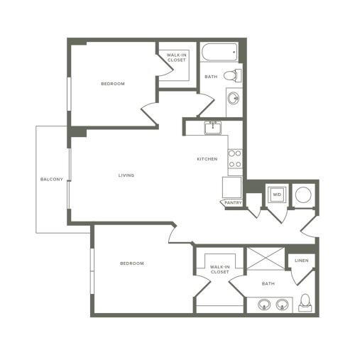 993 square foot two bedroom two bath apartment floorplan image