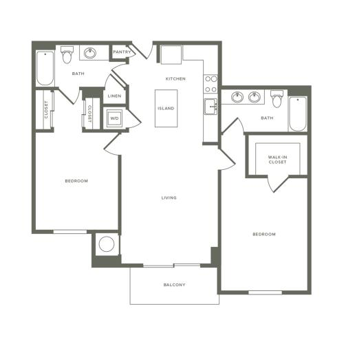 1089 square foot two bedroom two bath apartment floorplan image