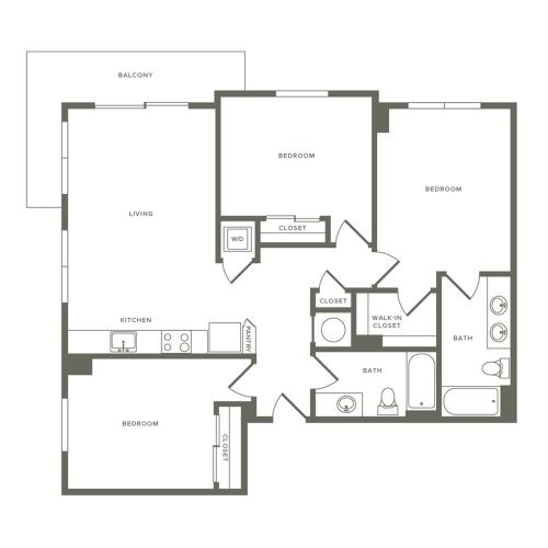 1167 square foot three bedroom two bath apartment floorplan image