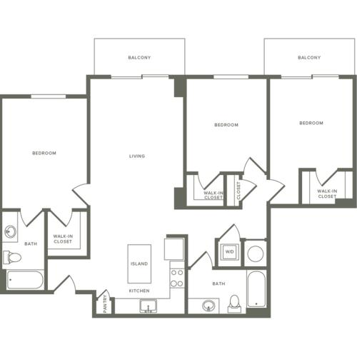1245 square foot three bedroom two bath apartment floorplan image