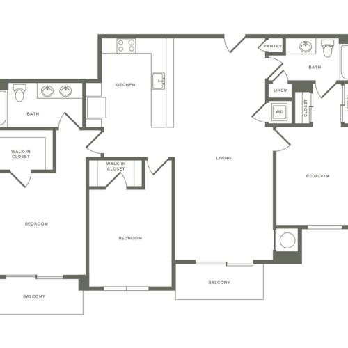 1489 square foot three bedroom two bath apartment floorplan image