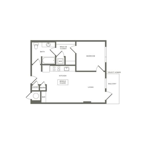 695 square foot one bedroom one bath apartment floorplan image