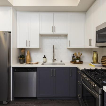 Kitchen cabinets with white finish.